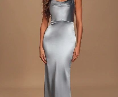 Daring Romance Pastel Blue Satin Cowl Neck Maxi Dress