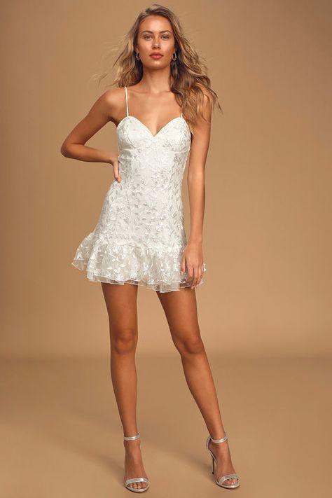 Lavish Lifestyle White Embroidered Ruffled Mini Dress