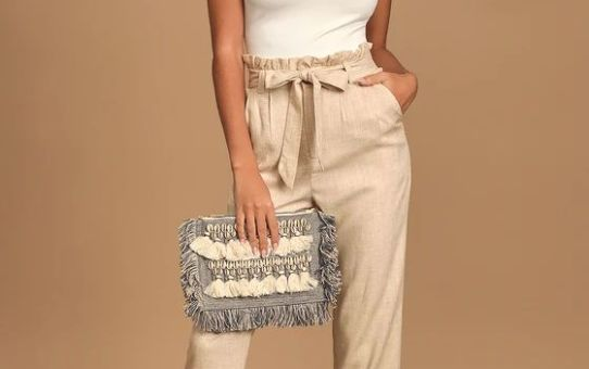 Always a Pleasure Beige Paper Bag Waist Pants