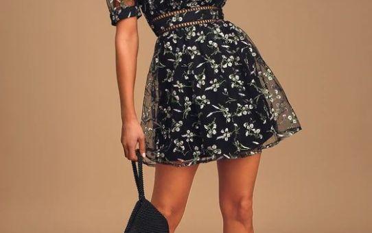 Radiant Love Black Floral Embroidered Short Sleeve Skater Dress