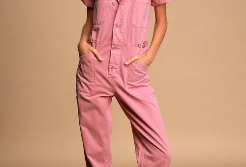 Grover Washed Pink Utility Jumpsuit