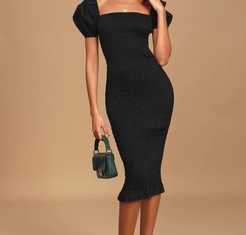 Steal The Stage Black Smocked Bodycon Midi Dress