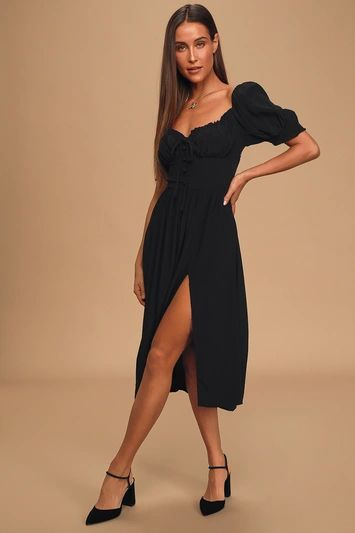 Good Side Black Short Sleeve Bustier Midi Dress