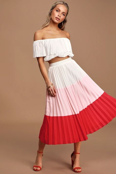 Perfectly Punctual White Colorblock Pleated Two-Piece Dress