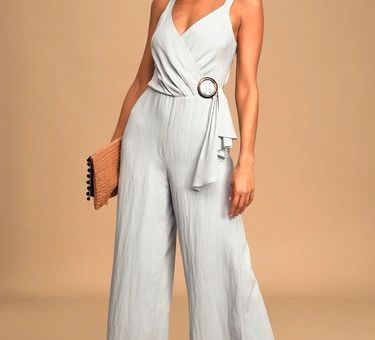 Love You Unconditionally Light Blue Wide-Leg Jumpsuit