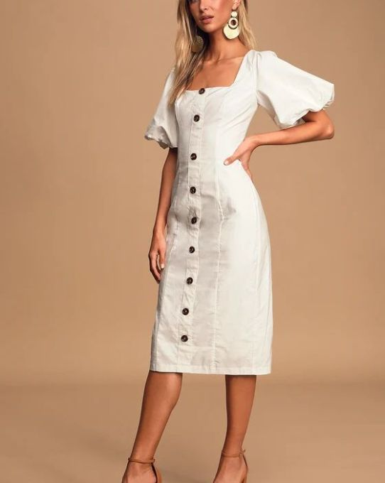 Song Of Spring White Puff Sleeve Button-Front Midi Dress