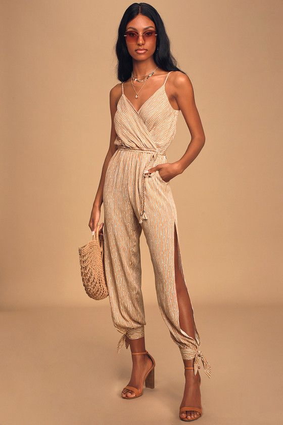 Stroll the Shore Camel Striped Jumpsuit