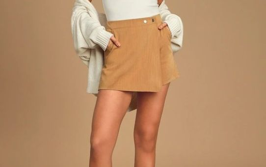 Keeping Things Casual Camel Faux Wrap Skort