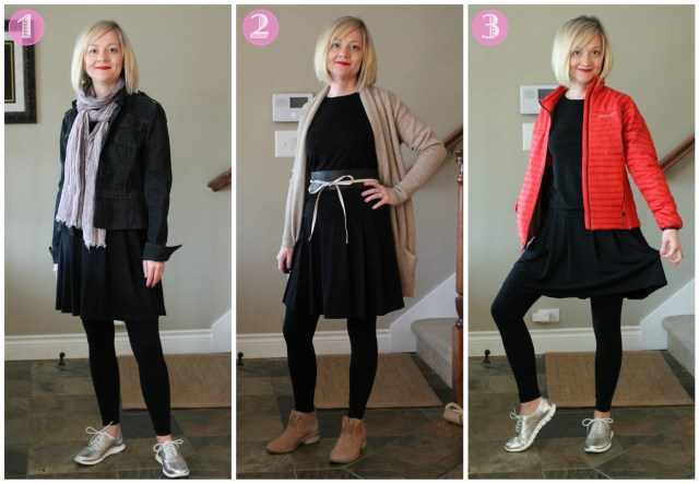 Three different casual outfits using Coco Chanel's original idea for the Little Black Dress as a base.