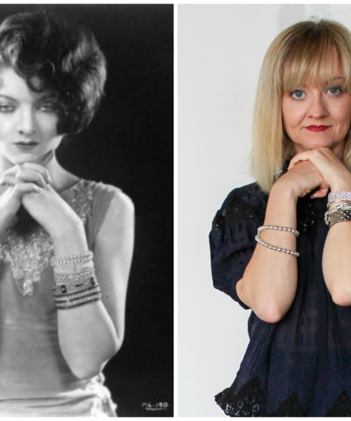 1930s Starlet Myrna Loy in a side-by-side collage with Sherry Dryja, modern-day fashion blogger of Petite Over 40.