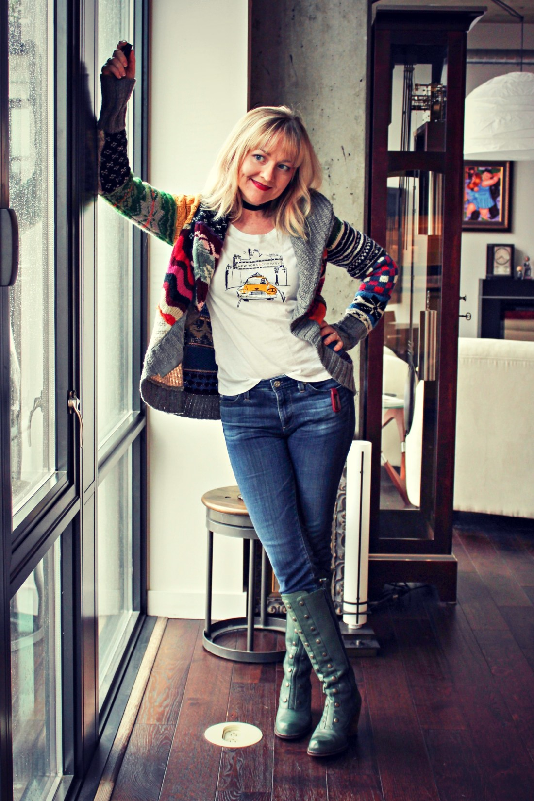 Desigual cardigan with graphic tee and Fluevog boots.