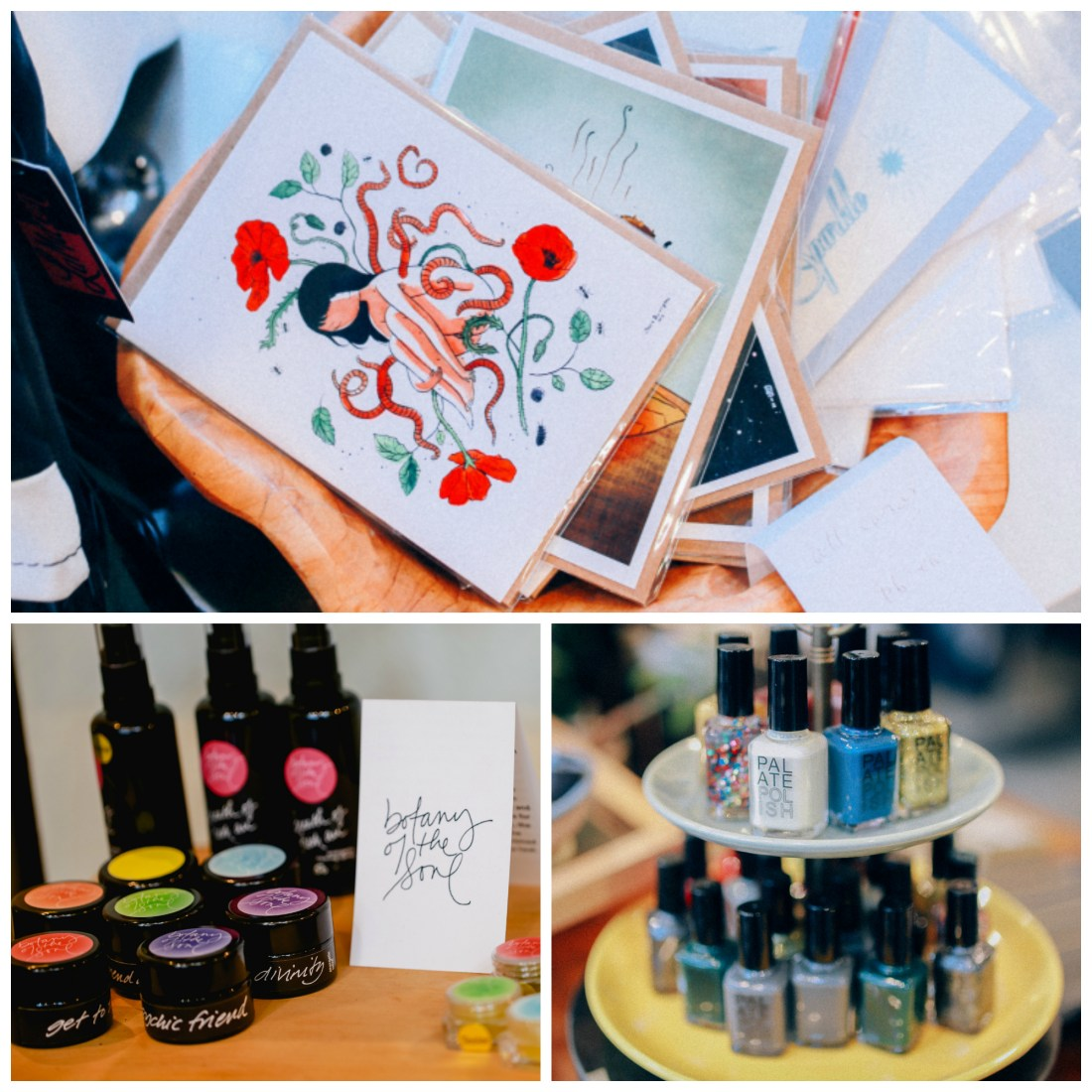 Handmade art, notecards, body products, and nail polish at Sassafras in Seattle.