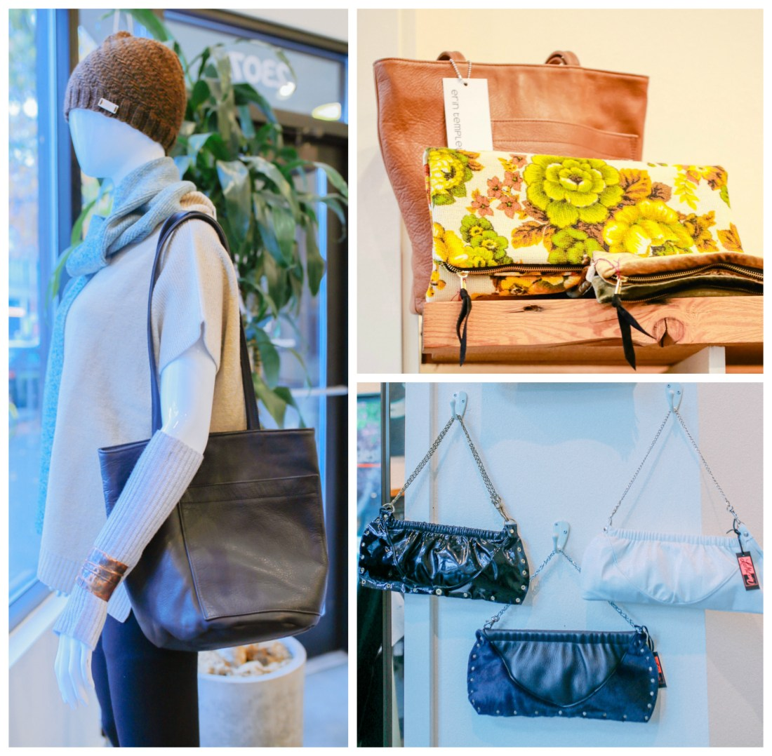 Handmade sweaters, scarves, hats, handbags, purses, and jewelry at Sassafras in Seattle.
