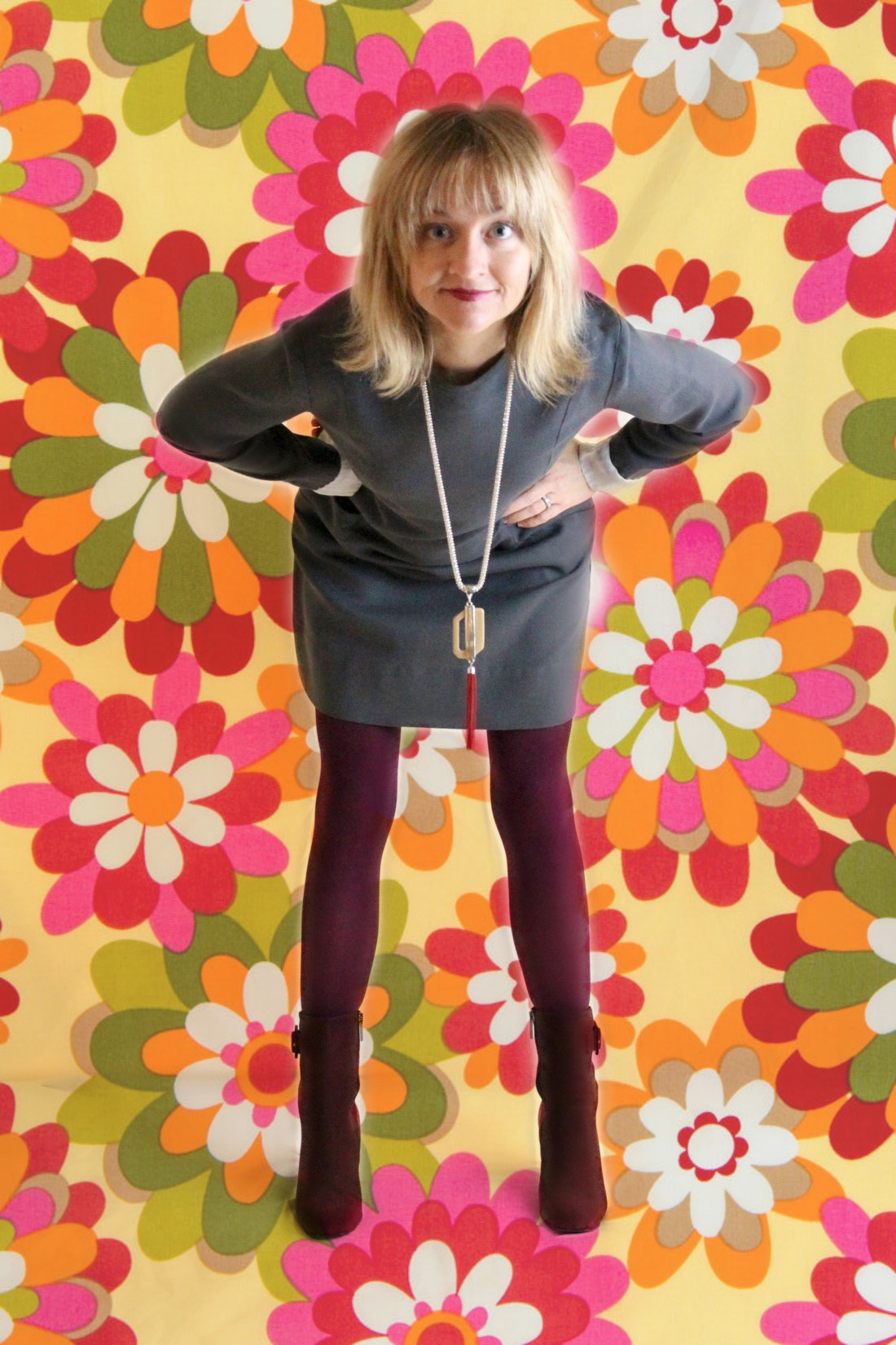 1960s gray shift dress with burgundy boots.
