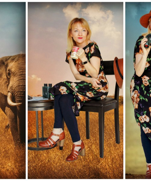 Collage of photos of a reversible floral Katy Flynn Seattle KFLY Dress with navy HUE leggings, tobacco Clarks heels, and Goorin Bros. woven sun hat.