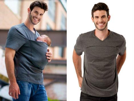 Voyager avec bébé tee shirt homme papa LALABU écharpe portage bébé