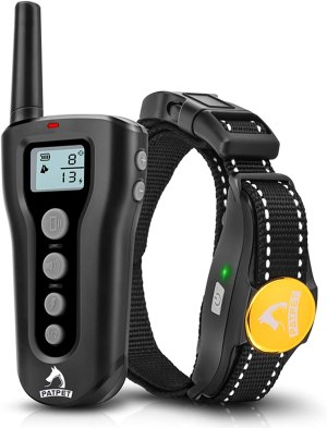 PATPET Dog Training Collar with Remote Rechargeable Waterproof Shock Collar for Dogs w/3 Training Modes, Beep Vibration and Shock, Up to 1000Ft Remote Range