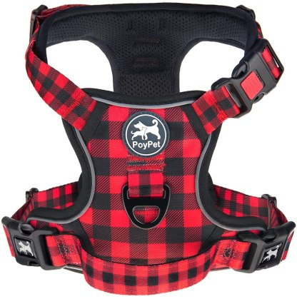 PoyPet No Pull Dog Harness, [Upgraded Version] No Choke Front Lead Dog Reflective Harness, Adjustable Soft Padded Pet Vest with Easy Control Handle for Small to Large Dogs