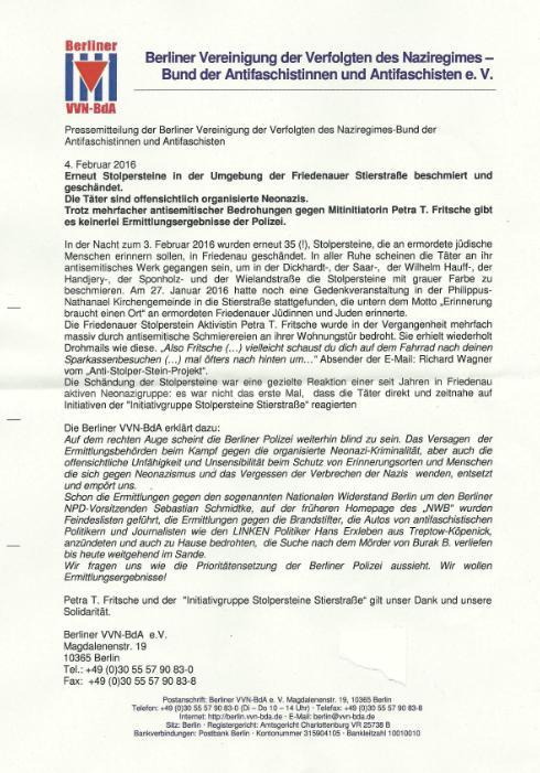 Pressemitteilung der Berliner Vereinigung der Verfolgten des nazi-Regimes vom 4. Februar:
