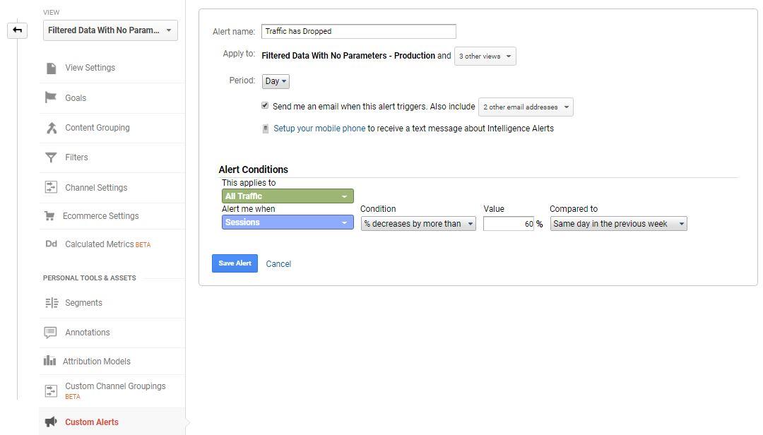 Google Analytics Custom Alerts