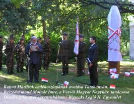 Katyni Mártírok emlékoszlopának avatása Tatabánya. Molnár Imre beszéde.
