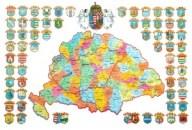 történelmi Magyarország a vármegyék címerével és az angyalos középcímerrel