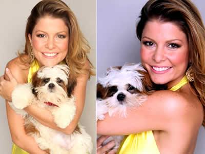 Com novo visual, Bárbara Borges posa com seu cachorrinho