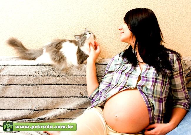 gato mulher gravida carinho petrede Toxoplasmose: O que o gato tem a ver com isso?