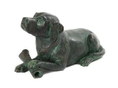 Dog with Bone Urn – Aged Bronze