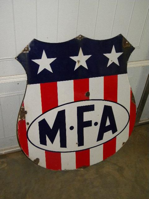 Photo  OLD Diecut MFA Gasoline Porcelain SSP Shield Sign