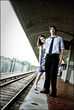 couple waiting for car on dc metro platform