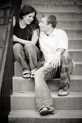 Couple sitting on steps at UMD college park