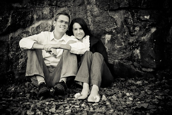 man and woman in Ellicott City sitting in front of wall