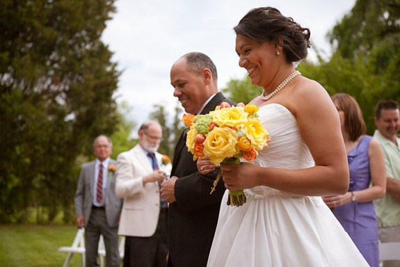 father giving bride away at Mt. Airy Mansion in Upper Marlboro Maryland