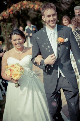 bride and groom walking down the isle at Mt. Airy Mansion in Upper Marlboro Maryland