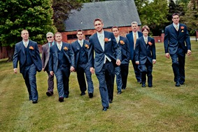 groom and groomsment walking at Mt. Airy Mansion in Upper Marlboro Maryland