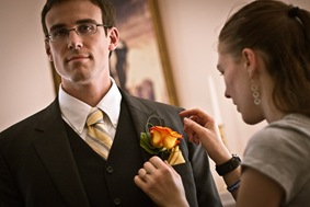 groomsman getting ready at Mt. Airy Mansion in Upper Marlboro Maryland