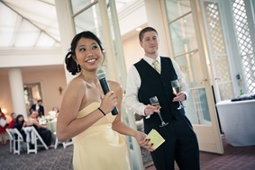 maid of honor giving toast at Mt. Airy Mansion in Upper Marlboro Maryland
