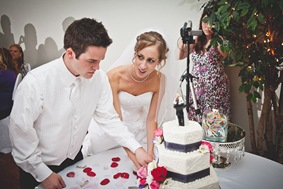 bride and groom cut cake in waldorf md