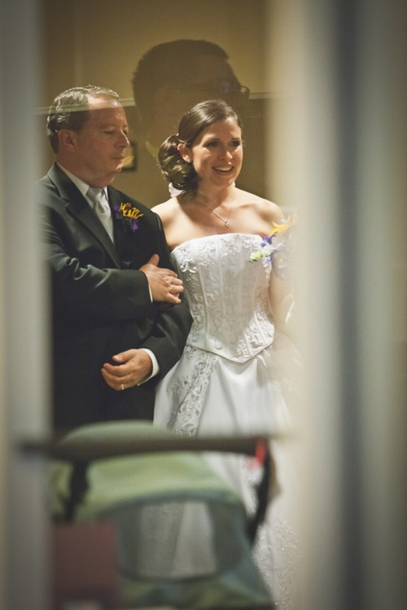 bride waiting to walk down the isle with father at Annapolis EP Church
