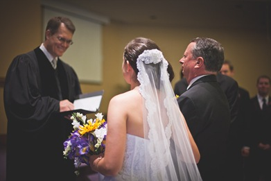 Father giving away bride at Annapolis EP