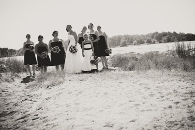 black and white bride and bridesmaids in Annapolis MD