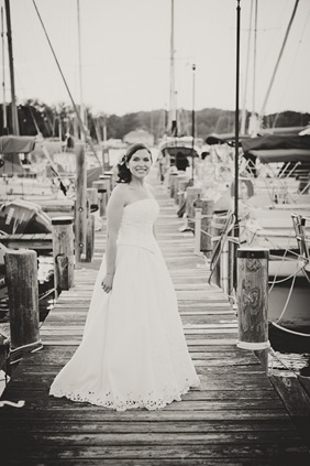 portrait of bride at marina in Annapolis Maryland