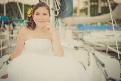 Portrait of Bride on a boat in Annapolis MD