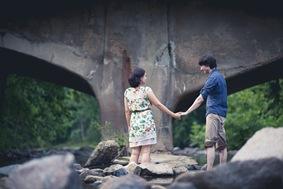 cute couple's engagement photos  in Historic Ellicott City