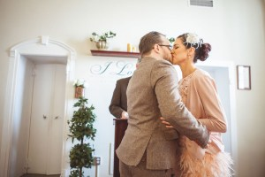 newly married couple's first kiss