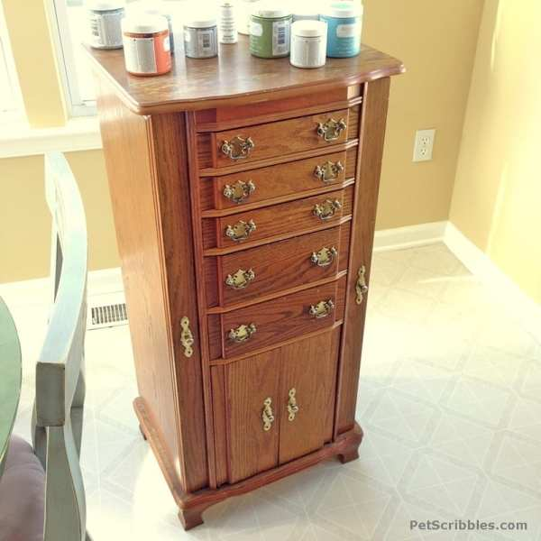 Vintage Jewelry Armoire Makeover With Paint And Stencils - Pet Scribbles
