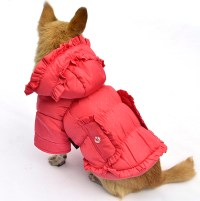 Trendy ruffled cold-proof Dog Coat Winter Clothing Magenta ...