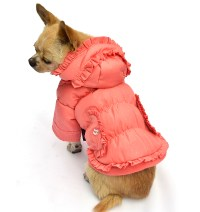 Trendy ruffled cold-proof Dog Coat Winter Clothing Pink ...