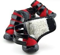 Black Fashion Suede high-cut Dog snow boots Lining Sherpa ...